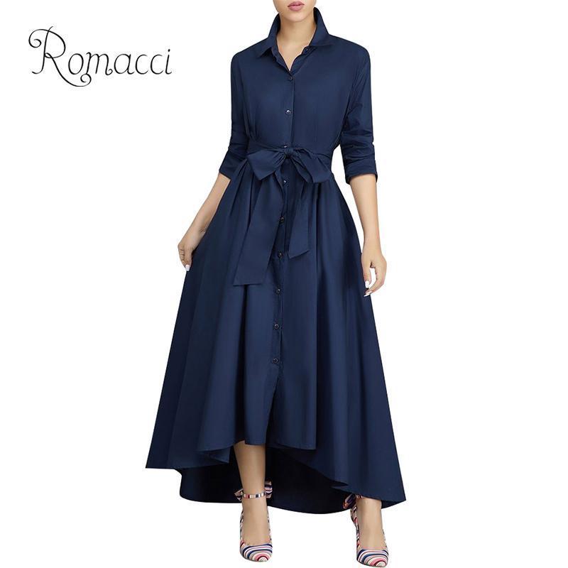 50ff124a9ace7 2019 Romacci Elegant Women Long Shirt Dress Low High Asymmetric Hem Rolled  Sleeve Maxi Dress Women Turn Down Collar Tied Waist Button From Aqueen, ...