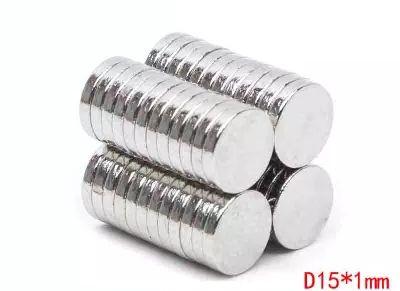 100 adet / grup Dia15x1mm Satış sert mıknatıs, güçlü N52 NdFeB çapı 15mm, 1mm kalınlığı Endüstriyel mıknatıs