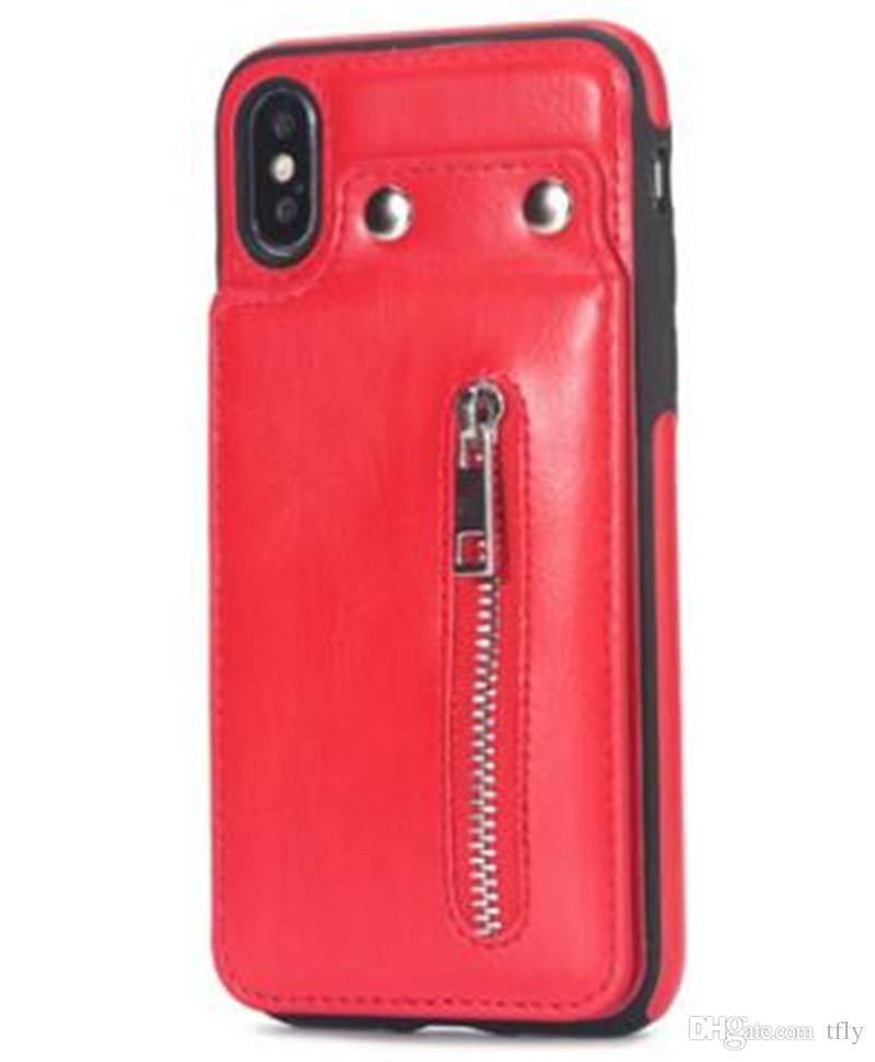 2018 PU Flip Leather Zipper Wallet Cell Phone Case Multi Card Holders Shells Cover For iphone X 8 7 6 plus Samsung S8 S9 Plus