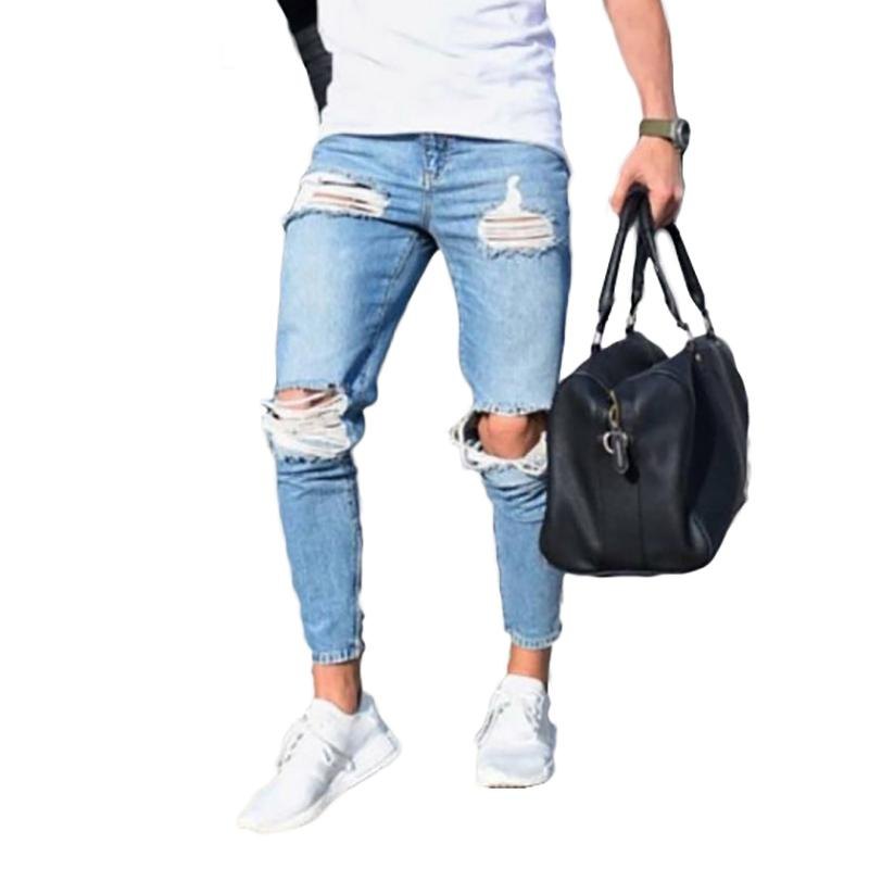 2018 Envmenst High Street Men Jeans Stretch Destroyed Conception De Mode Cheville Hole Skinny Biker Jeans Pour Hommes