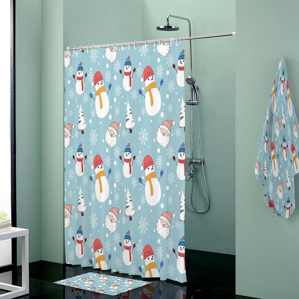 Snowman Custom Shower Curtains Set Towels Curtain Bath Mat Towel Bathroom Body Terry Cloth Baby From Bright689