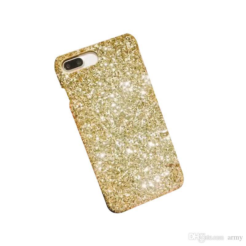 الذهب بلينغ بلينغ مسحوق SILIVER حالة الهاتف للحصول على الهاتف المحمول الفاخرة السائبة البريق حجر الراين كريستال الغلاف جل موبايل