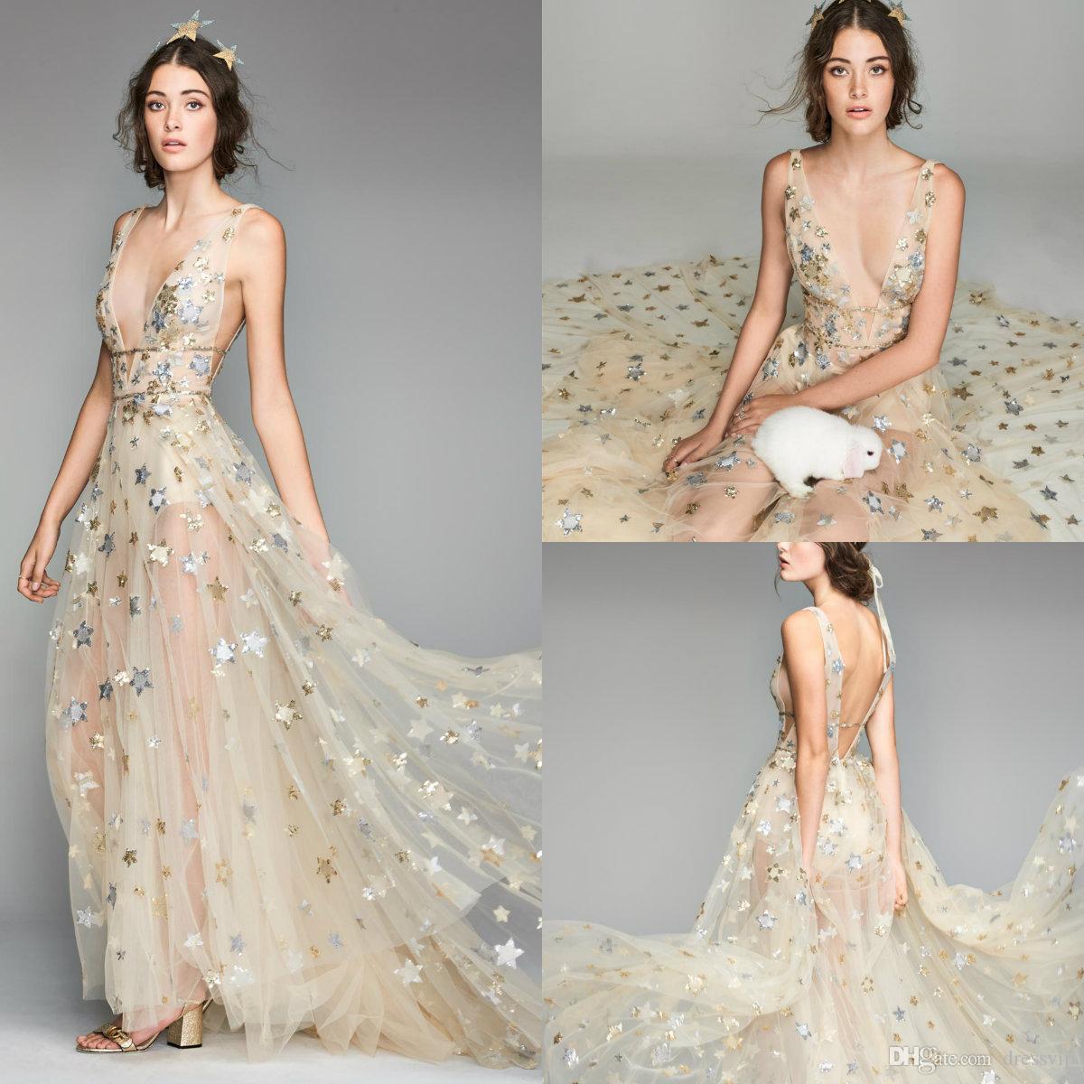 57cb7c695fd33 2018 Fairy Prom Dresses Bling Star Deep V Neck Sweep Train Sleeveless  Formal Dress Party Evening Robes De Soirée Plus Size Evening Gown Unique  Prom Dresses ...