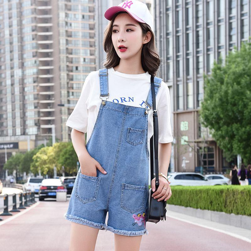 e954a1ff8f09 2019 2018 Summer Women Light Blue Denim Overalls Korean Casual Fashion High  Waisted Loose Wide Leg Jeans Shorts Hot Pants Jumpsuits From Smotthwatch