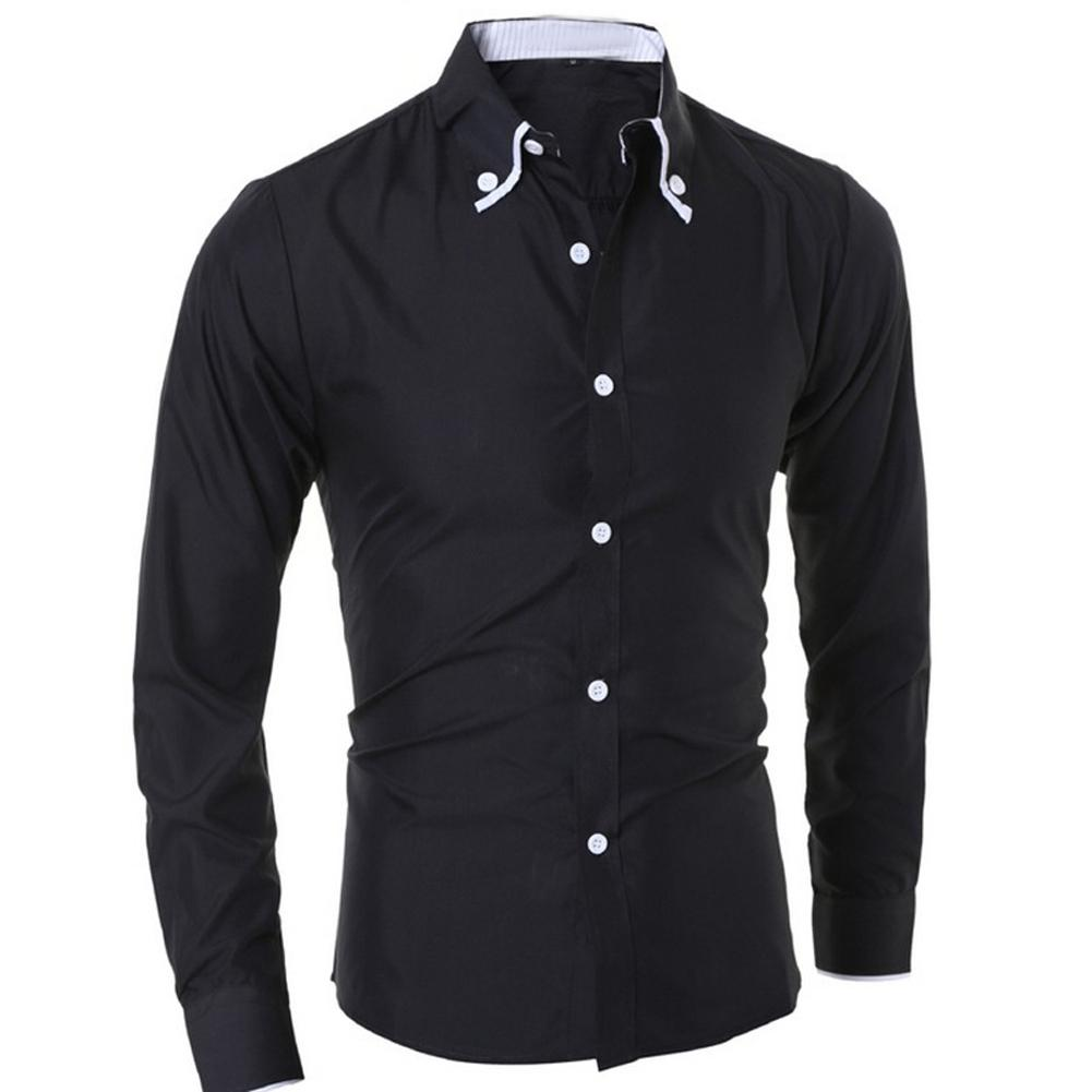 2019 Shirt Men New Mens Plain Color Stylish Formal Casual Slim Fit