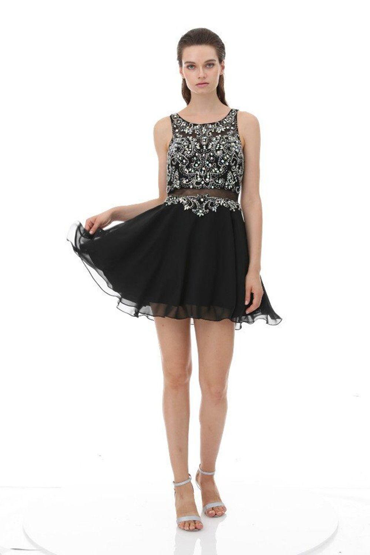 Compre Poco Cóctel Negro De Moda Para Fiestas Rhinestone Abalorios Cortos Vestidos De Baile 2019 Opacidad Volver Fiesta Vestidos De Gasa Vestido Dulce
