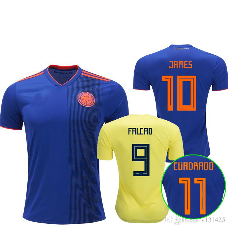 2019 2018 Colombia Soccer Jerseys Russia World Cup Home Away Jersey 10  JAMES 9 FALCAO 11 CUADRAD 8 AGUILAR 13 GUARIN 6 SANCHEZ Football Shirt From  Y131425 3db2a0859