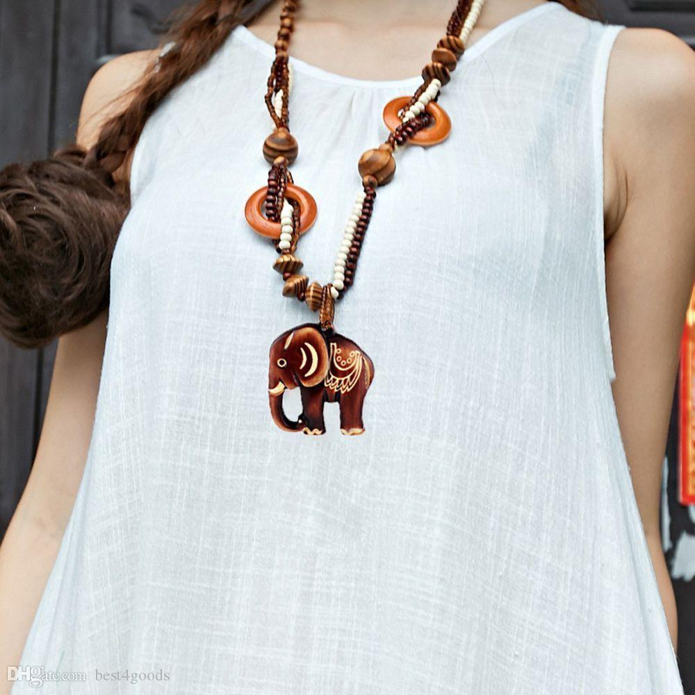 Boho Jewelry Necklace Wood Elephant Pendant Hand Made Bead Long Ethnic Style Maxi Necklace For Women Sweater Chain Gift