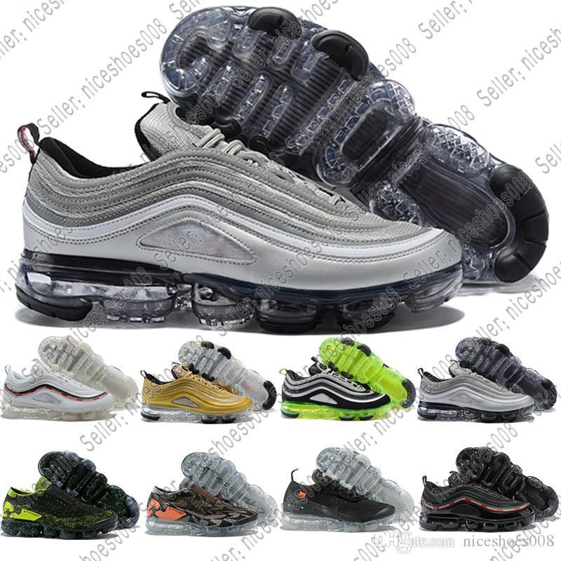 newest collection 3a113 0c095 Nike Air Max Vapormax Venta Al Por Mayor Más Nuevo Vapor 97 Silver Bullet  Metálico Oro AIRE Cojín Mujer Mens Running Shoes 97 Invicto Zapatilla  Deportiva ...