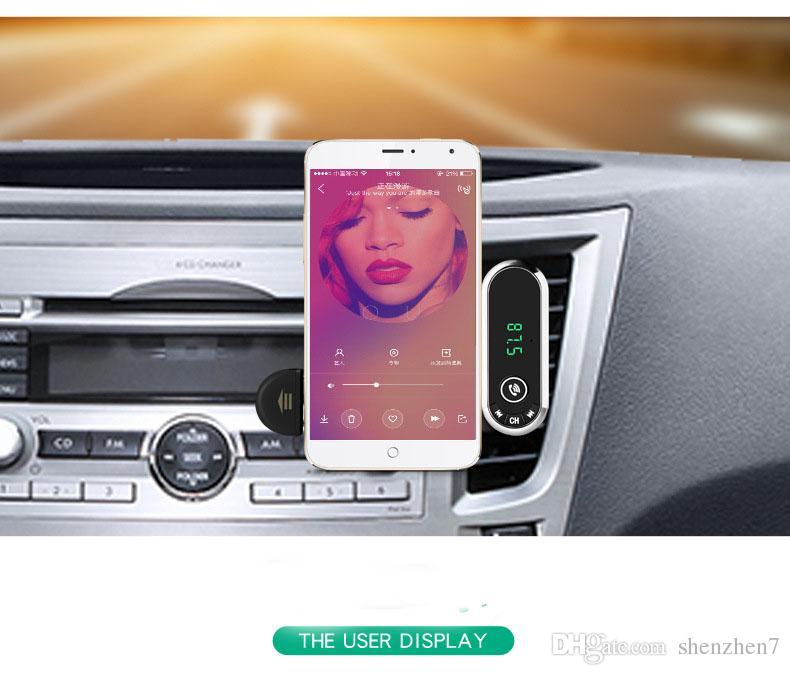 Hands Free Wireless Bluetooth FM Transmitter TF AUX Modulator Car Kit MP3 Player Air vent Holder Stand Car Phone Holder OTH747