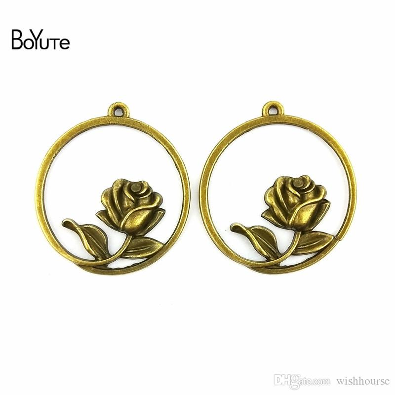 BoYuTe  33.5MM Antique Bronze Plated Zinc Alloy Rose Charms Pendant for Jewelry Making Necklace Bracelet Diy Hand Made