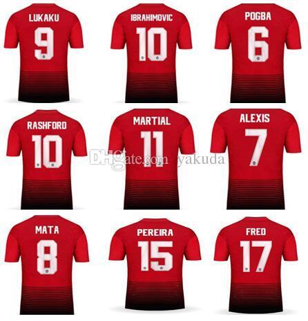 ac21a58274 Home With Champion Patch Shirt 18-19 7 Alexis Ibrahimovic 10 RASHFORD 9  Lukaku 11 MARTIAL 6 POGBA
