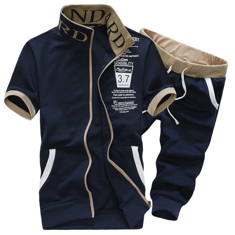 c75827ae4 Costumes de survêtement pour homme Costume de mode été Plus la taille à  manches courtes Polo T Shirt Pant Homme Vêtements de sport Vêtements ...