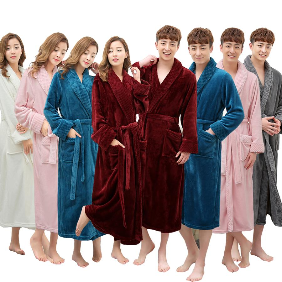 79b05c4296 2019 On Sale Super Soft Extra Long Men Women Warm Coral Flannel Bath Robe  Mens Kimono Bathrobe Male Dressing Gown Lovers Winter Robes From  Movearound