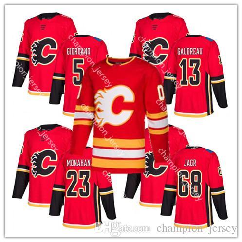 2019 Men S Calgary Flames Jerseys 5 Mark Giordano 13 Johnny Gaudreau 23  Sean Monahan 68 Jaromir Jagr Embroidery Logos Hockey Jersey From  Champion jersey c6d6780b7
