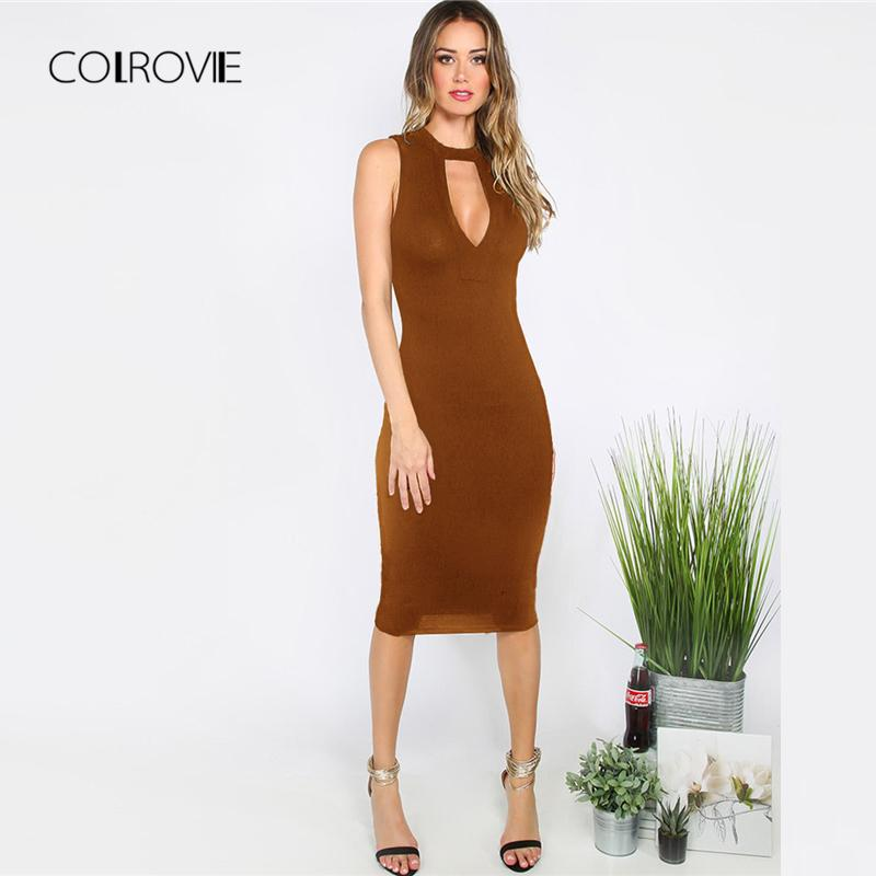d8a1d2c3007f 2019 COLROVIE Brown Deep V Neck Cut Out Slim Party Dress Women 2018 New  Solid Knee Length OL Bodycon Dress Sexy Female Dresses From Xiamen2013