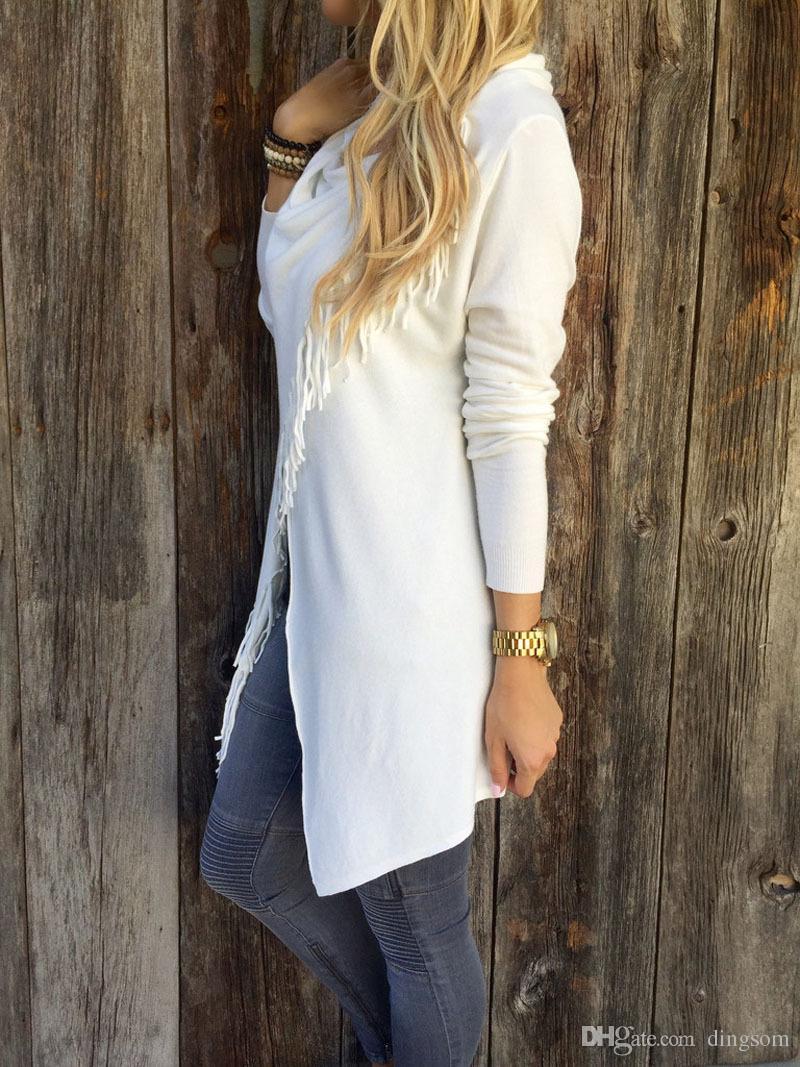 Mulheres Casual Irregular Tassel Cardigan De Malha Solta Camisola Tripulação Pescoço Outwear Casaco Top 8 Cores S-3XL Frete Grátis