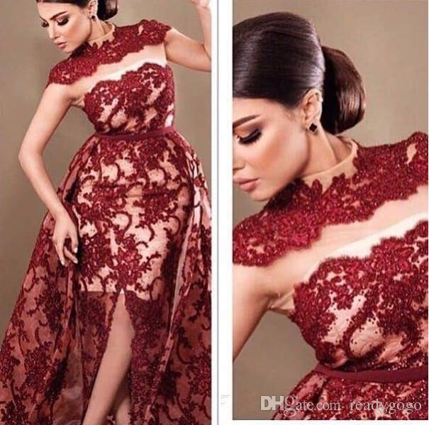 Dubai Arabic Style High Neck Evening Dresses Burgundy Lace Sequins Front Split Mermaid With overskirt 2018 Formal prom Occasion Gown