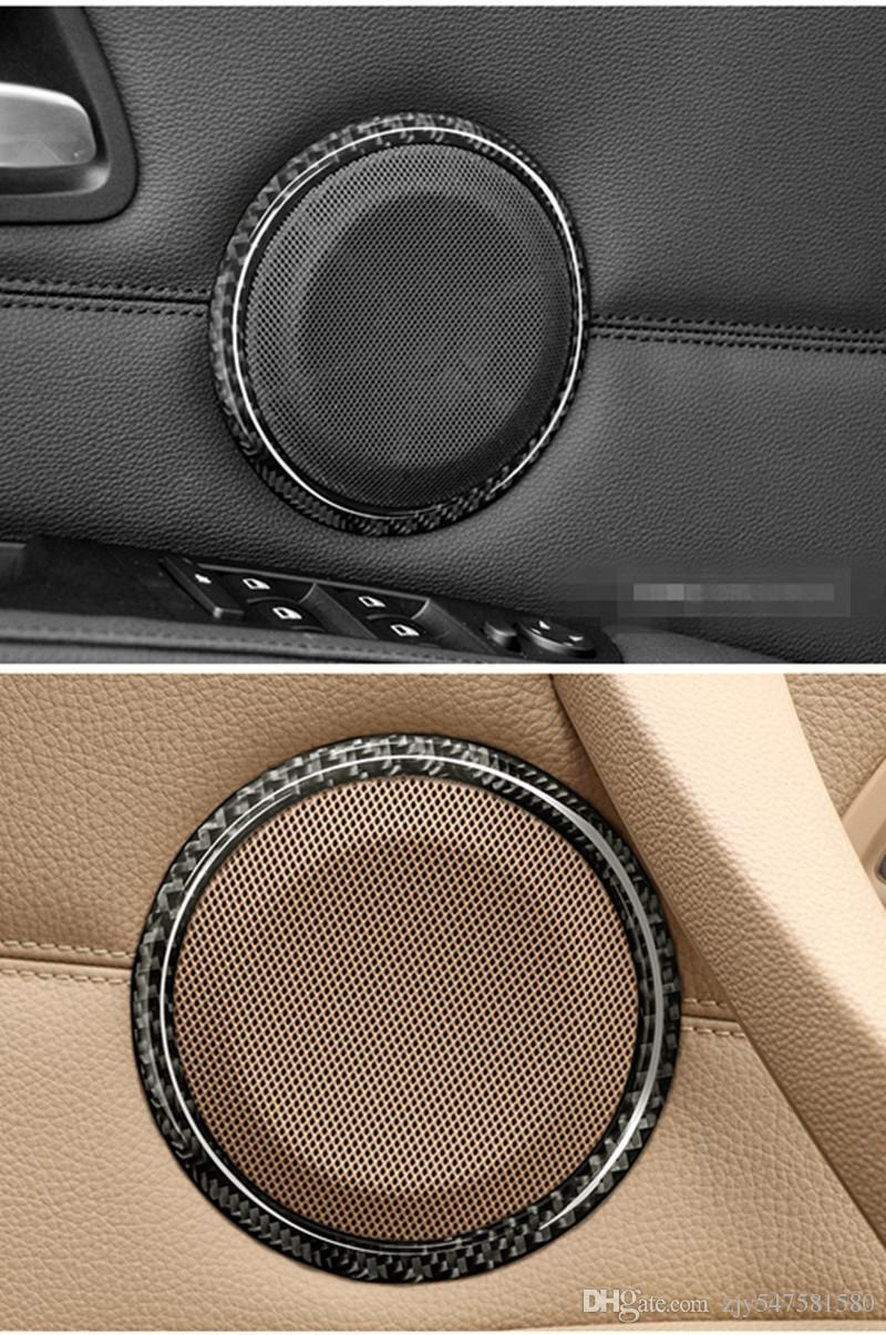 Kohlefaser Auto tür Lautsprecher Dekorative Kreis Aufkleber Lautsprecher Trim Car Styling Für BMW E90 320i 325i E84 X1 Zubehör