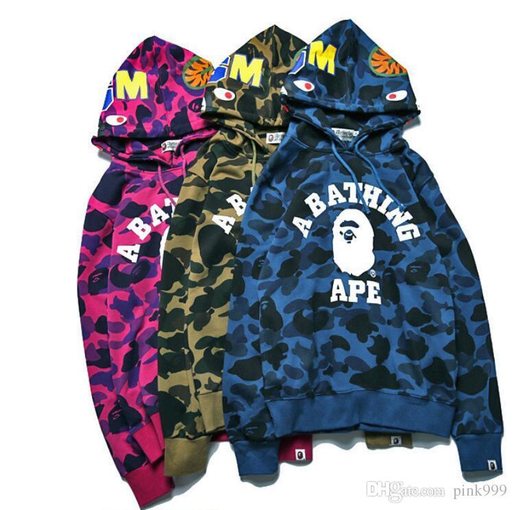 2018 günstige neue winter hoodie männer ein baden aape ape shark kapuzenpullover mantel camo full zip jacke camouflage hoodies