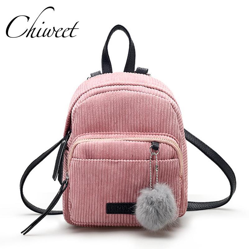 7d4f8ce1fa48 Women Pink Cute Mini Backpack Korean Designer Vintage Teenager Bag Velvet Small  Backpacks For Girls Plush Ball Female Travel Bag Small Backpack Backpack ...