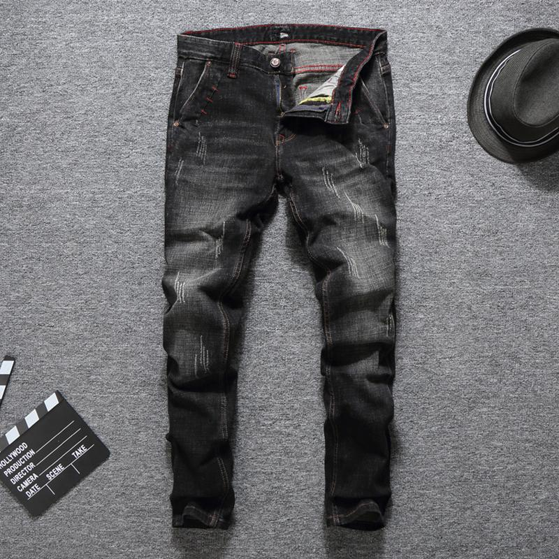 6df00889 Italian Designer Fashion Men's Jeans High Quality Slim Fit Black ...
