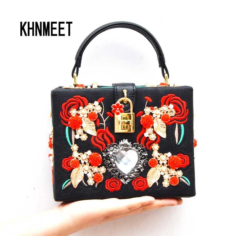 bfe6b805a8 Fashion Heart Diamond Pearl Rose Embroidery Designer Party Purse Ladies  Shoulder Bag Clutch Evening Bag Mini Tote Handbags 8120 Rosetti Handbags  Name Brand ...