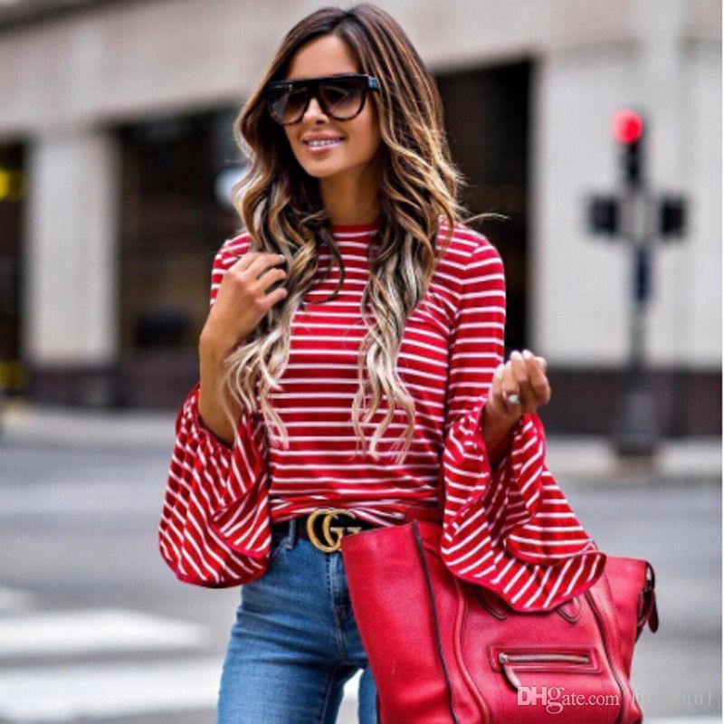 efafe9f4eb Compre Outono Inverno Mulheres Moda Feminina Listrada Flare Camisa De Manga  Longa Solta Casual Blusa Vermelha Tops De Linyoutu1