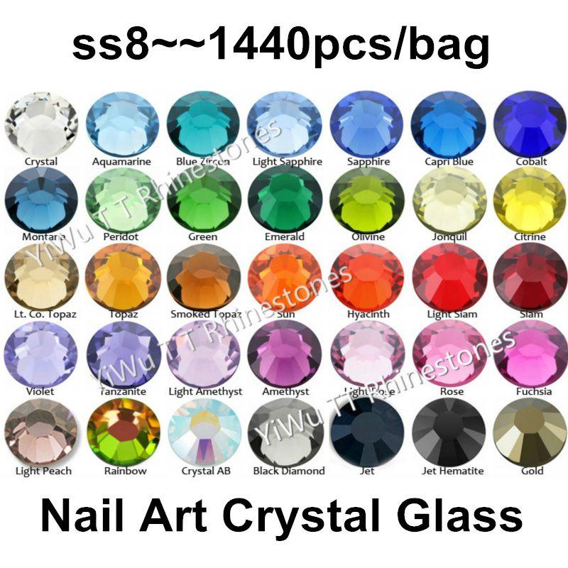 Wholesale SS8 2.3-2.4mm Multi Colors Flat Back Glue On Non Hotfix ... eda9b0ceed5b