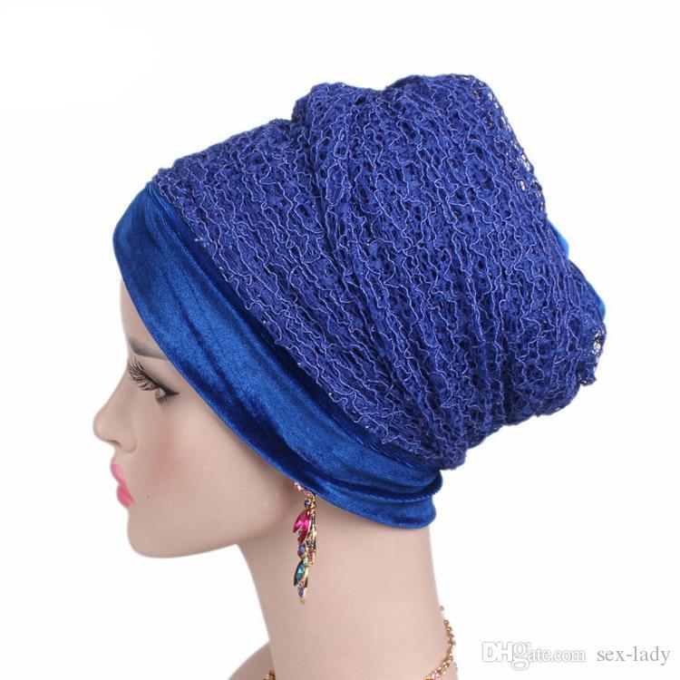 Acquista Nuovo Lusso Morbido Maglia A Rete Avvolgere La Testa Turbante  Nigeriano Donne Bandane Hijab Lungo Velo Accessori Capelli Donna Musulmano  A  4.07 ... 7d8f934723ad