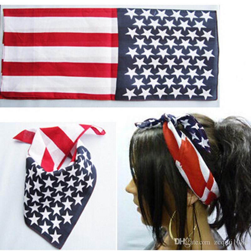 النجوم الأمريكية للجنسين المشارب خوذة usa العلم خياطة باندانا الشعر الفرقة الديكور مريح قوي موضة جديدة