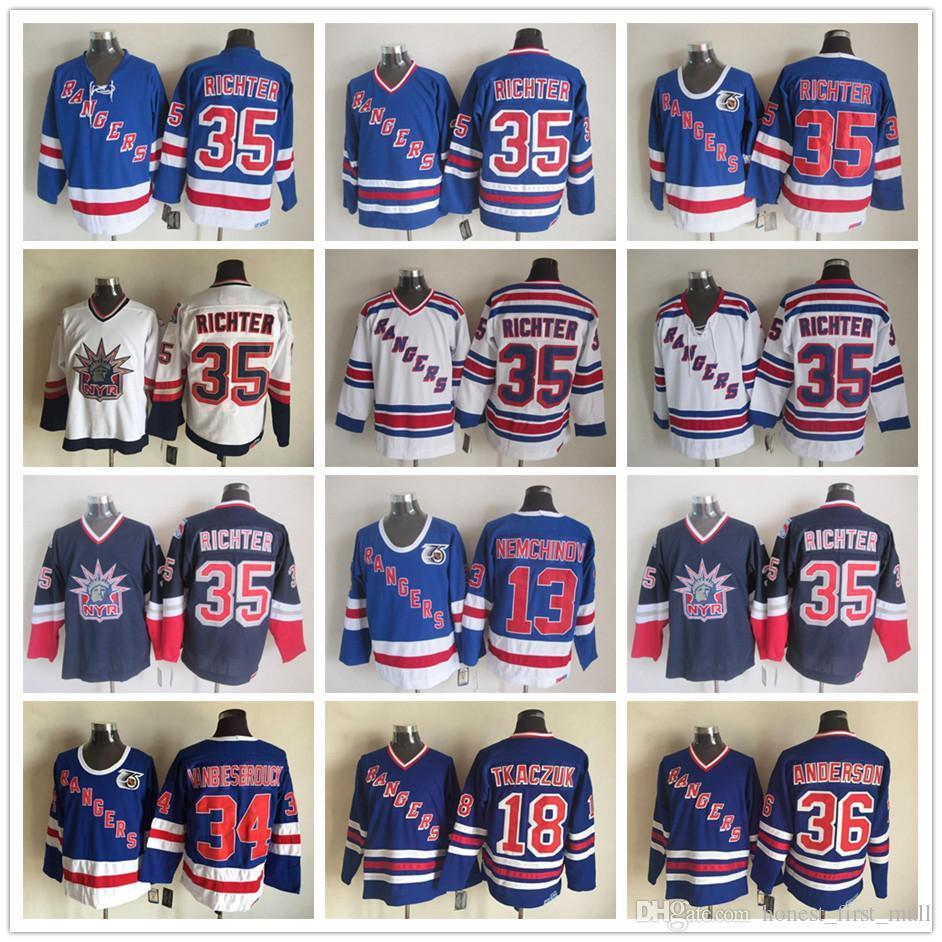 d72db8dcd84 2019 Men Stitched 35 Mike Richter Hockey Jersey Vintage CCM 34  Vanbiesbrouck 36 Anderson New York Rangers 13 Nemchinov 18 Tkaczuk Navy  Blue White From ...
