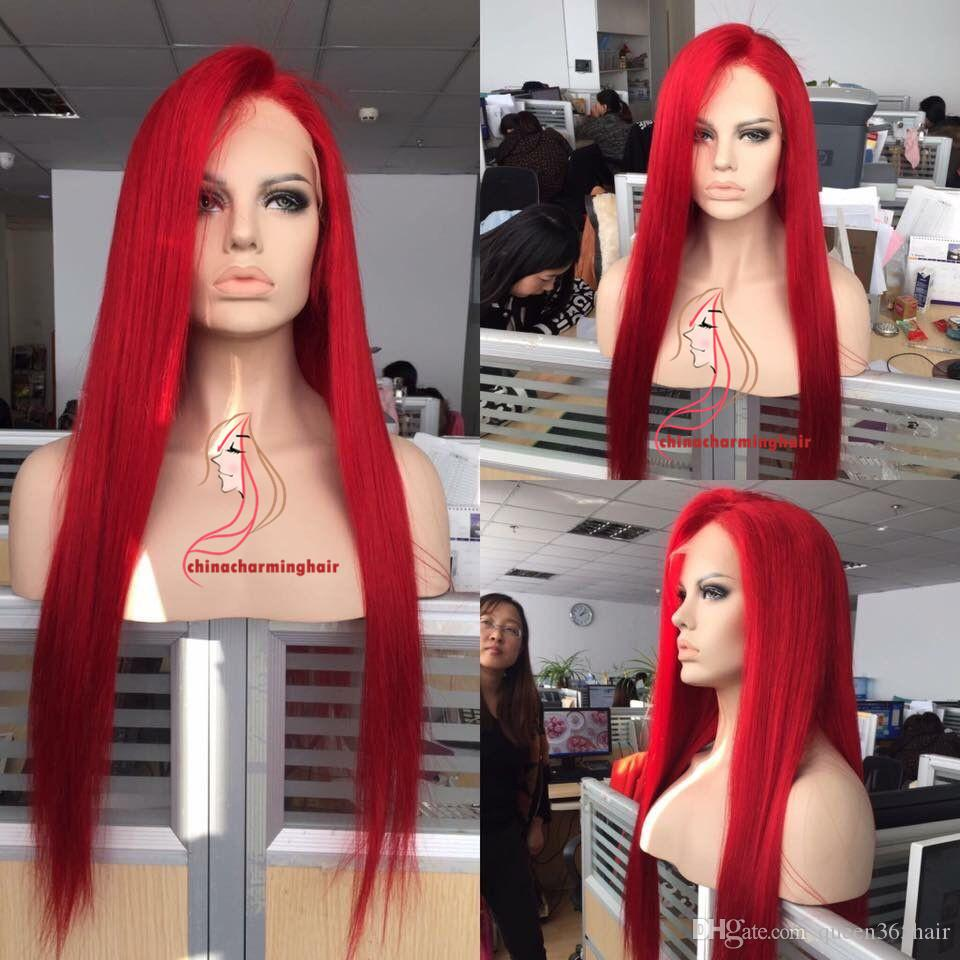 Red Full Lace Human Hair Wigs Silky Straight Brazilian Virgin Human Hair 130 Density red Lace Front wig With Baby Hair Glueless