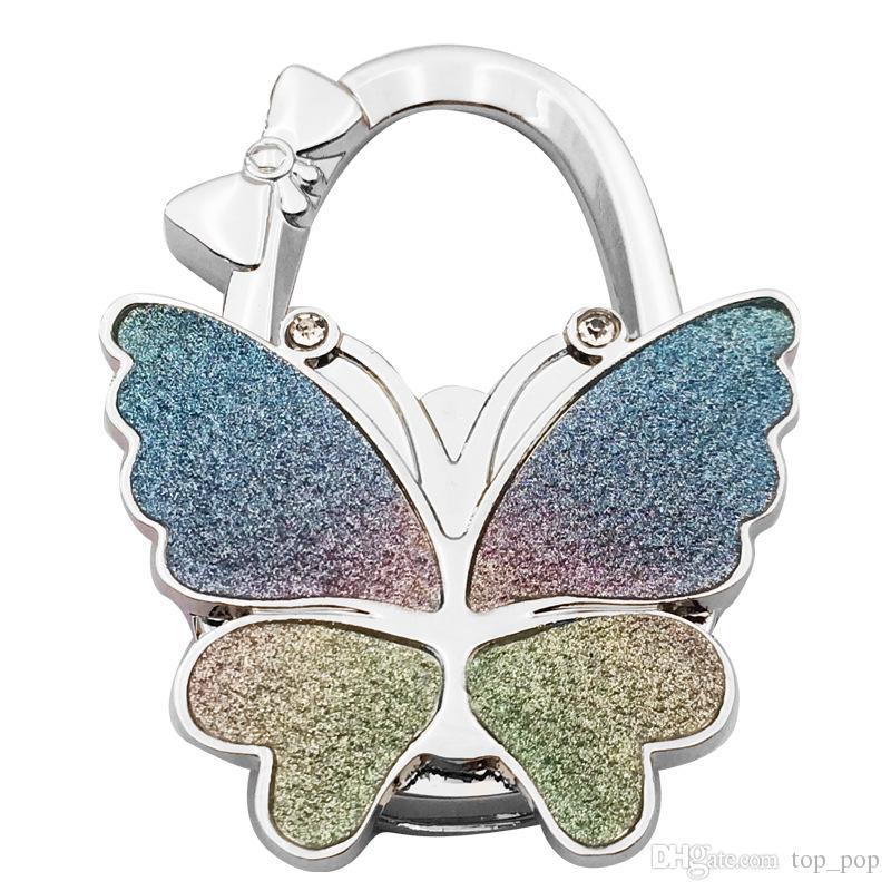Butterfly Design Handbag Folding Bag Purse Hook Home Hooks Hanger Holder for gift Beetle Lock Bling XL-603