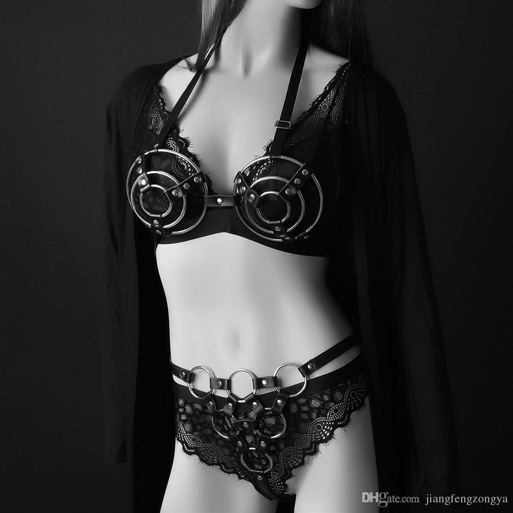 Sexy En Cuir Harnais Femmes Foncé Rock Rue Sangle Harnais Cool Collier Réglable Collier Réglable Taille Ceintures Fille Boucle