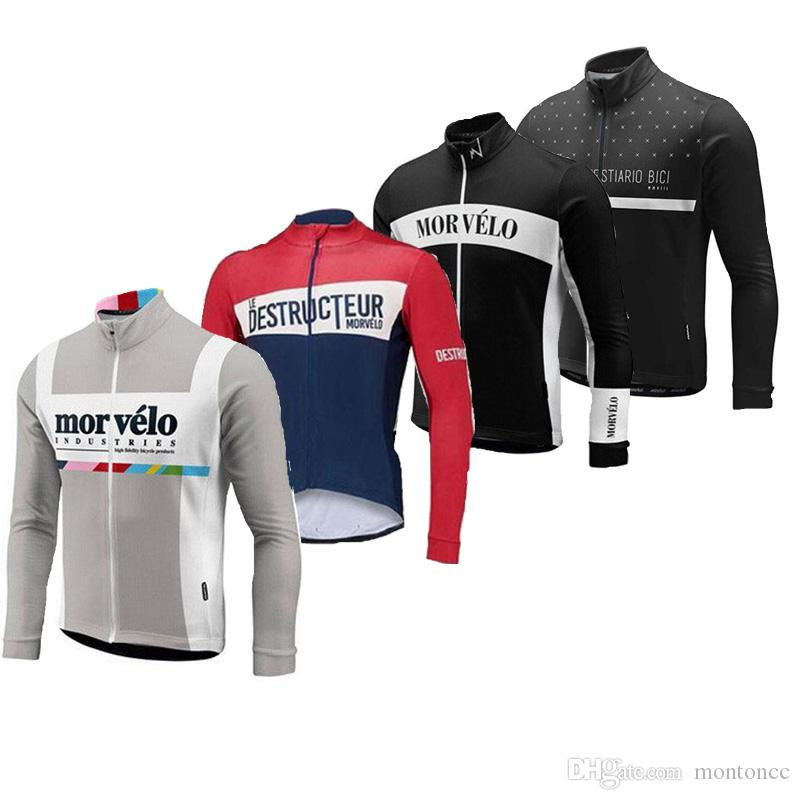 0ad90bcfa Men Cycling Jersey Morvelo Spring Autumn Long Sleeve Pro Bicycle Bike Jersey  MTB Ropa Ciclismo Cycling Clothing F52501 Biking Clothes Bike Shirts From  ...