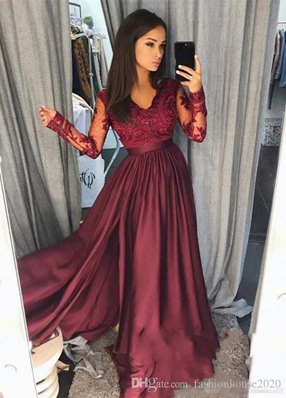 fffc62b23fd 2018 A Line Burgundy Prom Dresses V Neck Lace Applique Beaded Sheer Long  Sleeves Floor Length Satin Formal Special Party Evening Gowns Wear Prom  Dress Plus ...