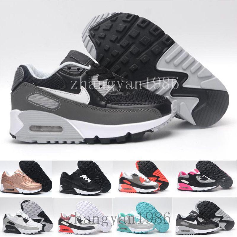 sports shoes c25d7 e123b Acquista Nike Air Max 90 Airmax 2018 Primavera Autunno Bambini Scarpe 90 Rosa  Rosso Nero Traspirante Confortevole Bambini Sneakers Ragazzi Ragazze Bambino  ...