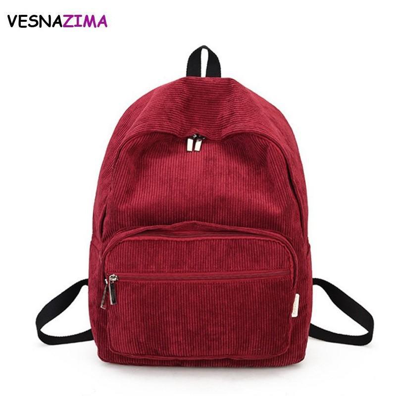 Vesnazima Retro Backpack Women Girl Korean Simple Color Escolar Women Backpack  School Bag Female Rucksack Bookbag WM642Z Backpacks For Men Jansport Big ... de96110fe42ba