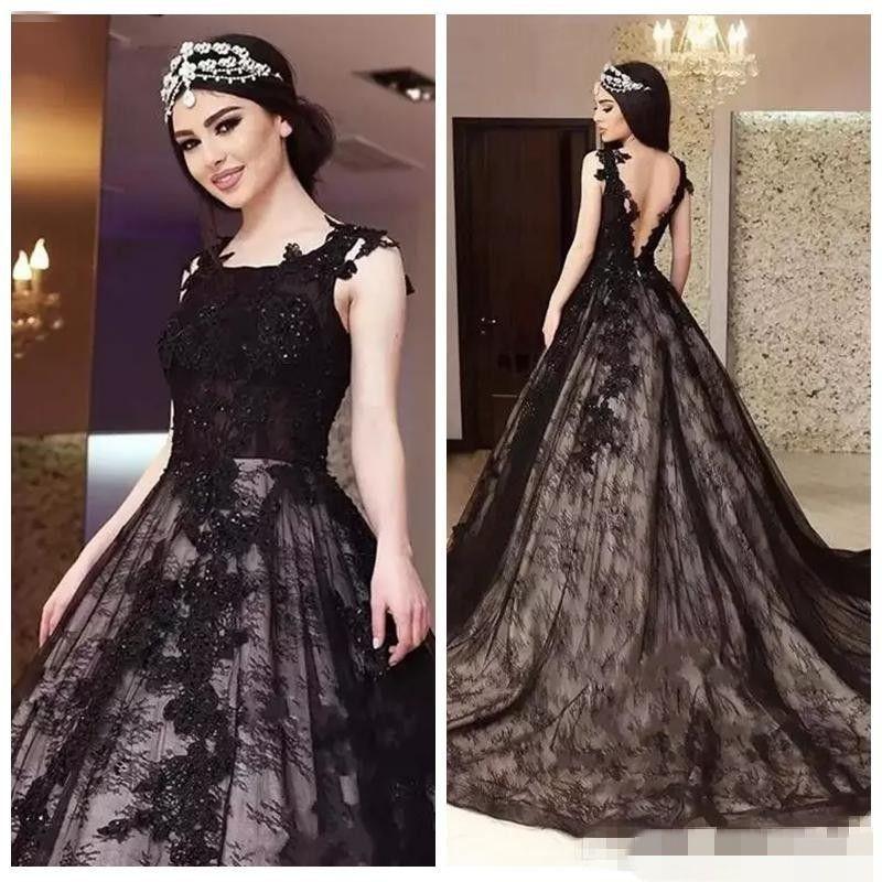 Discount 2018 Latest Black A Line Gothic Wedding Dresses Bridal Gowns  Square Neck Beaded Sequins V Shape Back Chapel Train Lace Appliques Bride  Dresses ... 68dc800ace21