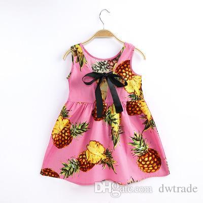 Летние девушки полные цветы печати большой лук шелковая лента связана веревка корейский стиль хлопок высокого класса бутик рукавов жилет платье 24 конструкций