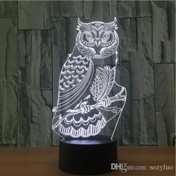Mighty Owl 3D Visual RGB Led Interruttore Touch Remote Night Lights Bambini Tavolo Lampara Lampe Baby Sleeping Room Decor Lampada Regali di Natale di compleanno