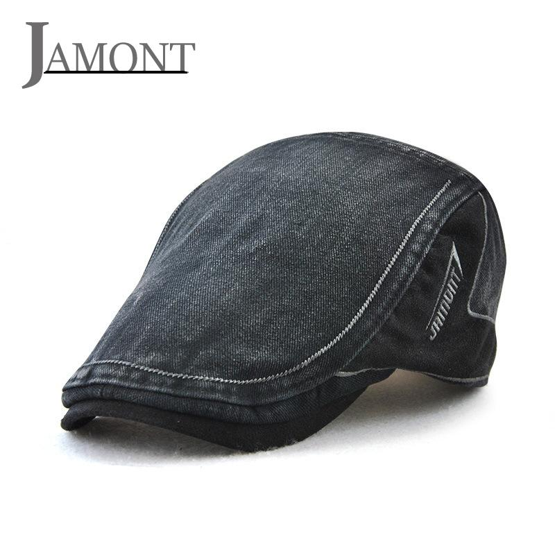 JAMONT Denim Beret Caps Embroidery Flat Hat Man Woman Summer Casual Peaked  Caps Jeans Cotton Berets Hats Classic Simple Flat Cap Berets Cheap Berets  JAMONT ... 49df52ccee69