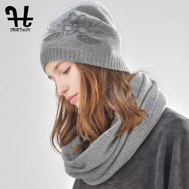 2019 FURTALK Womens Cashmere And Rabbit Fur Beanie Winter Hat Infinity Scarf  For Women Hat And Scarf Set From Duoyun e6380ab064