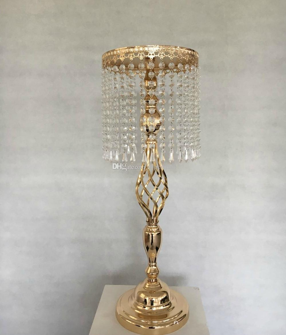 70cm Rhinestone Candelabra Wedding Party Elegant Candle Holder Pretty Table Centerpiece Vase Stand Crystal Candlestick Wedding Decoration