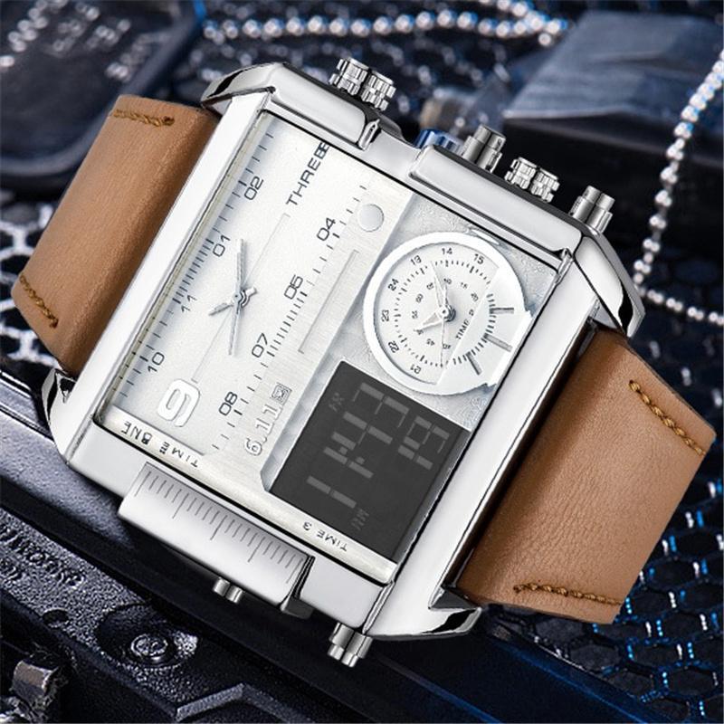 aad6c18699b Compre LED Relógios Digitais Homens Marca De Luxo Dual Fuso Horário Relógio  De Quartzo Tamanho Grande À Prova D  Água De Couro Masculino Esporte Relógio  ...