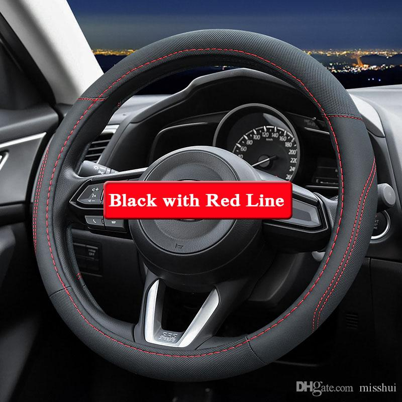 QCBXYYXH 마즈다 CX-5 M3 M6 용 아텐 자 2018 스티어링 휠 커버 용 가죽 스타일링 스티어링 휠 커버 내부 액세서리