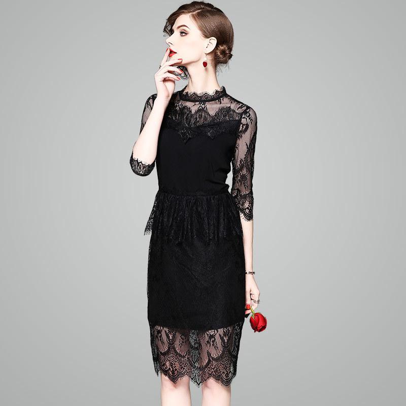 edcef84b01fd 2019 Black Lace Bodycon Dress Women Spring Sexy Evening Party Night Club Knee  Length Slim Lace Dress 2018 From Longmian, $93.56 | DHgate.Com