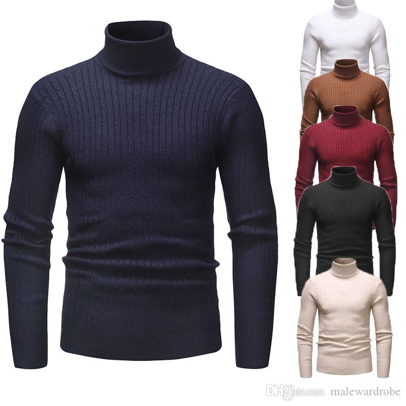 c0fc38c70 Mens Striped Sweaters Fashion Turtleneck Business Bottoming Tops ...