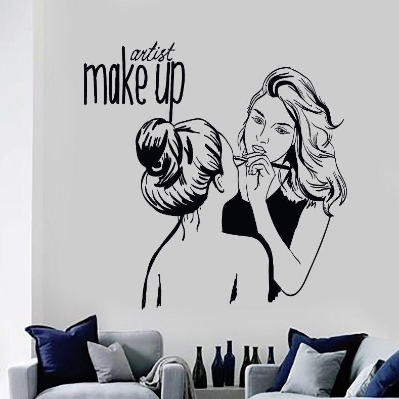 vinyl wall decal make up artist wall sticker cosmetic beauty salon